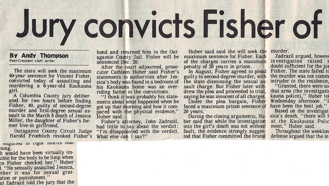 Newspaper clipping of story on Fisher's conviction.