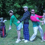 """Starring on the Cortland Repertory Theatre's first summer production in its 45th anniversary season, Ken Ludwig's """"The Fox on the Fairway,"""" are (from left) Tayler Beth Anderson, Dan Wilt, Michael Schaefer, Charlie Jhaye and Justin Klose."""
