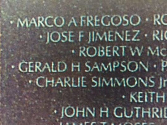 Jimenez's name on the Vietnam Veterans Memorial