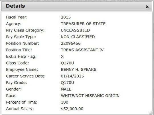 This is the listing for Benny Speaks' position in the state treasurer's office from Transparency.Arkansas.gov.