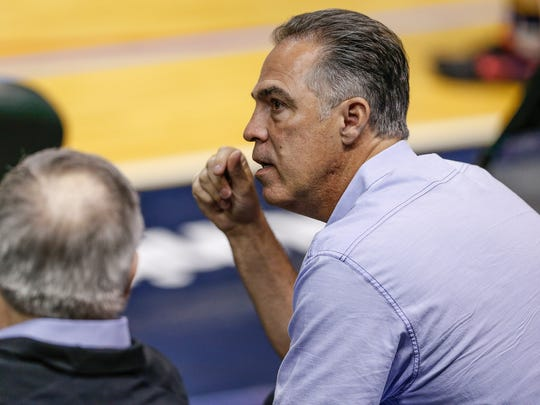 Kevin Pritchard, Indiana Pacers president, watches