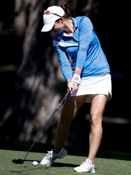 Beatriz Recari, of Spain, hits from the fairway on the 11th hole during the first round of the LPGA Tour ANA Inspiration golf tournament at Mission Hills Country Club, Thursday, March 29, 2018, in Rancho Mirage, Calif. (AP Photo/Chris Carlson)