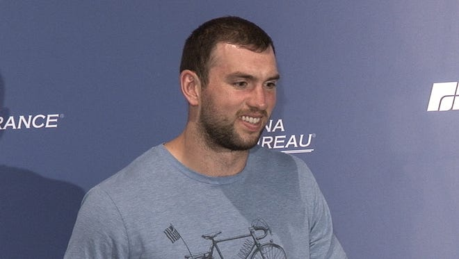 Indianapolis Colts quarterback Andrew Luck talks with the media on April 9, 2018.