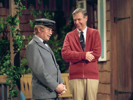 "Fred Rogers and David Newell, who played Mr. McFeely on ""Mister Rogers' Neighborhood,"" are seen in ""Won't You Be My Neighbor?"""