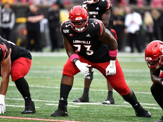 Louisville offensive tackle Mekhi Becton (AP Photo/Timothy D. Easley)