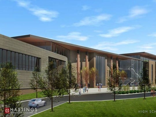 A rendering created by Hastings Architecture and Associates shows what a future Hillwood High School could look like if moved to the HopePark Church site off U.S. 70.