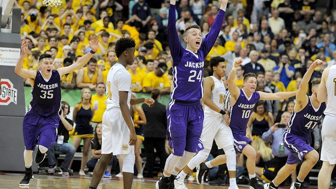 Jackson celebrates the win in the 2017 OHSAA Division I State Basketball Final, Mar. 25, 2017.