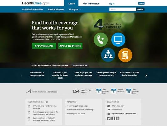 Obamacare.gov screen shot