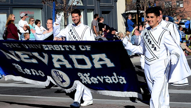 The University of Nevada, Reno marching band march in the 79th Annual Nevada Day Parade held on Oct. 28, 2017 in Carson City.