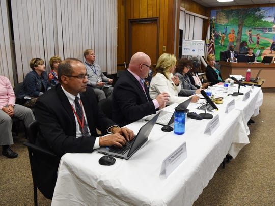 Assistant superintendents for the Poughkeepsie City School District, pictured at a board meeting on Oct. 4, 2017 in the Jane Bolin Administration Building on College Avenue.