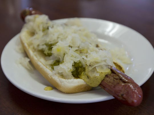 A crisp-skinned Schickhaus hot dog with mustard, relish and sauerkraut at Max's Famous Hot Dogs in Long Branch.
