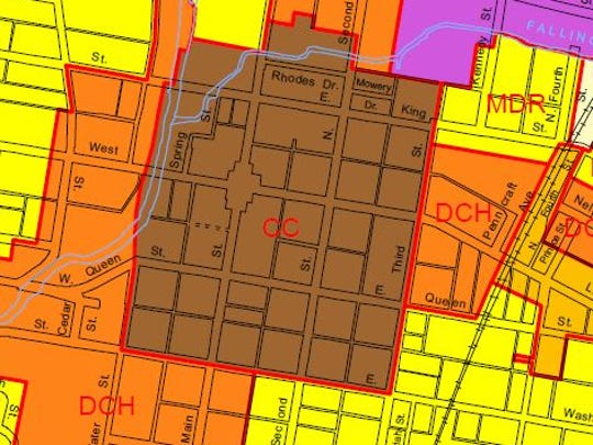 This clip from the Chambersburg zoning map shows the