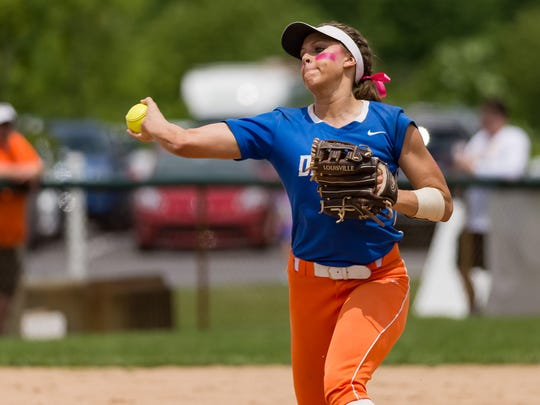 Delmar's Avery Wheatley (14) fields the ball in the DIAA softball semifinals at Lower Sussex Little League in Frankford, DE.