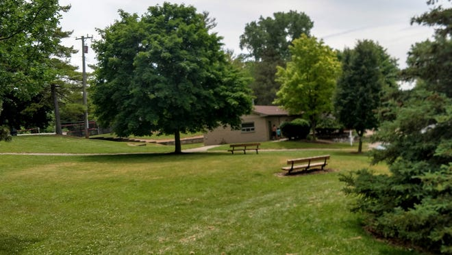 The view of Lakeshore Park from South Lake Drive in Novi.