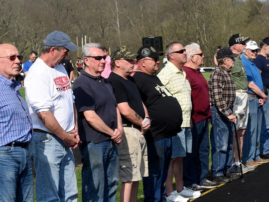 Local veterans were honored in a ceremony before Wednesday's Coshocton County track and field meet at River View High School. River View senior Cassidy Turnbull organized the event as part of her senior project.