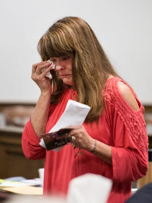 Megan Coxie's mother reacts after addressing Todd Kohlhepp at the Spartanburg County Courthouse on Friday, May 26, 2017.