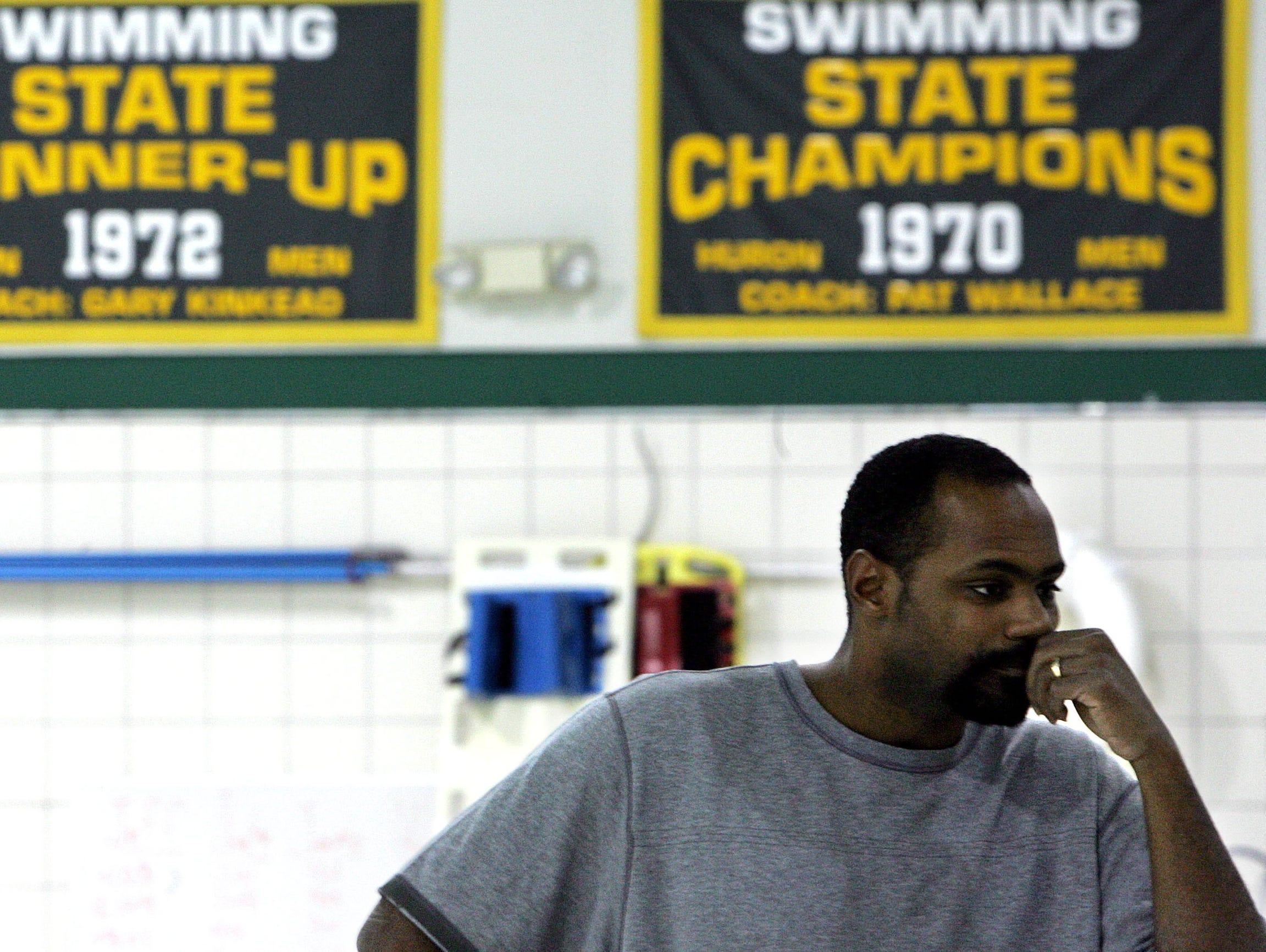 Ann Arbor's Kelton Graham looks on during practice in Ann Arbor on Feb. 25, 2008.