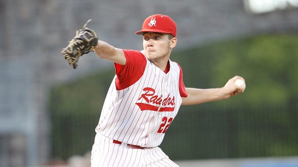 North Rockland pitcher Eric Sandusky (22) delvers a pitch during their 4-0 win over Suffern at Palisades Credit Union Park on Thursday, May 12, 2016.