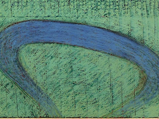 """Blue Turn #5"" by Ivan Schieferdecker is a 1982 painting"
