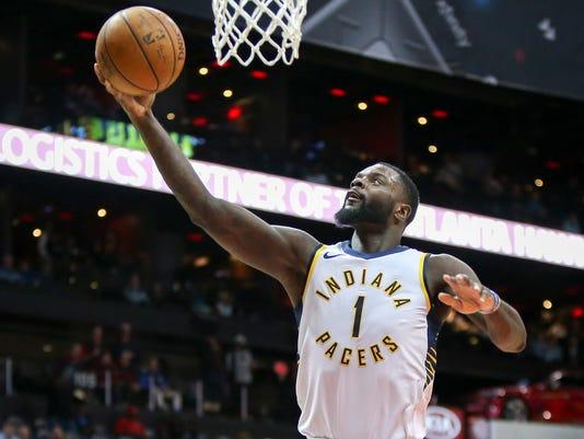 Indiana Pacers' Lance Stephenson shoots against the Atlanta Hawks during the second half of an NBA basketball game Wednesday, Feb. 28, 2018, in Atlanta. Atlanta won 107-102. (AP Photo/Brett Davis)
