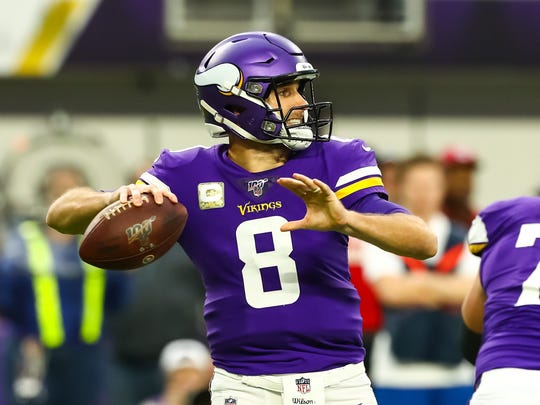 Nov 17, 2019; Minneapolis, MN, USA; Minnesota Vikings quarterback Kirk Cousins (8) throws a pass in the second quarter against the Denver Broncos at U.S. Bank Stadium. Mandatory Credit: David Berding-USA TODAY Sports
