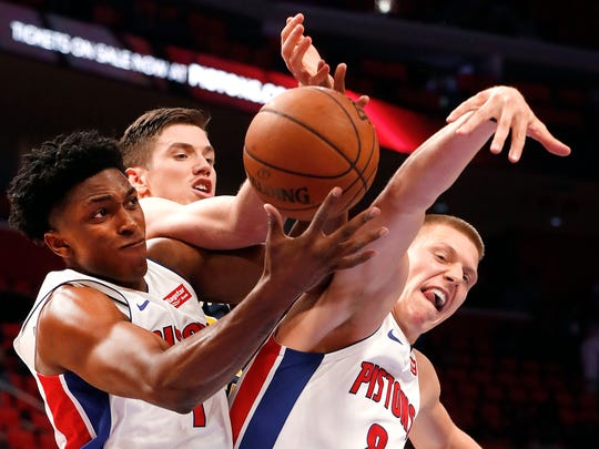 Pistons forward Stanley Johnson, left, should see more playing time with the trade of Marcus Morris and loss of Kentavious Caldwell-Pope to free agency.