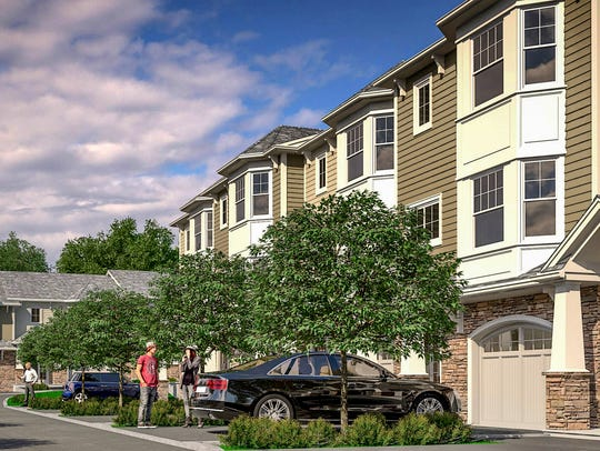 Artist's rendering of the completed townhomes at Belmont