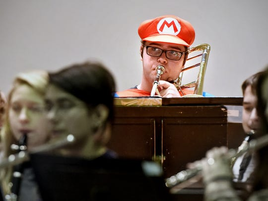 "Joe Bigelow practiced in his Mario costume while preparing for the 2015 St. Cloud State ""Halloween Spooktacular"" concert."