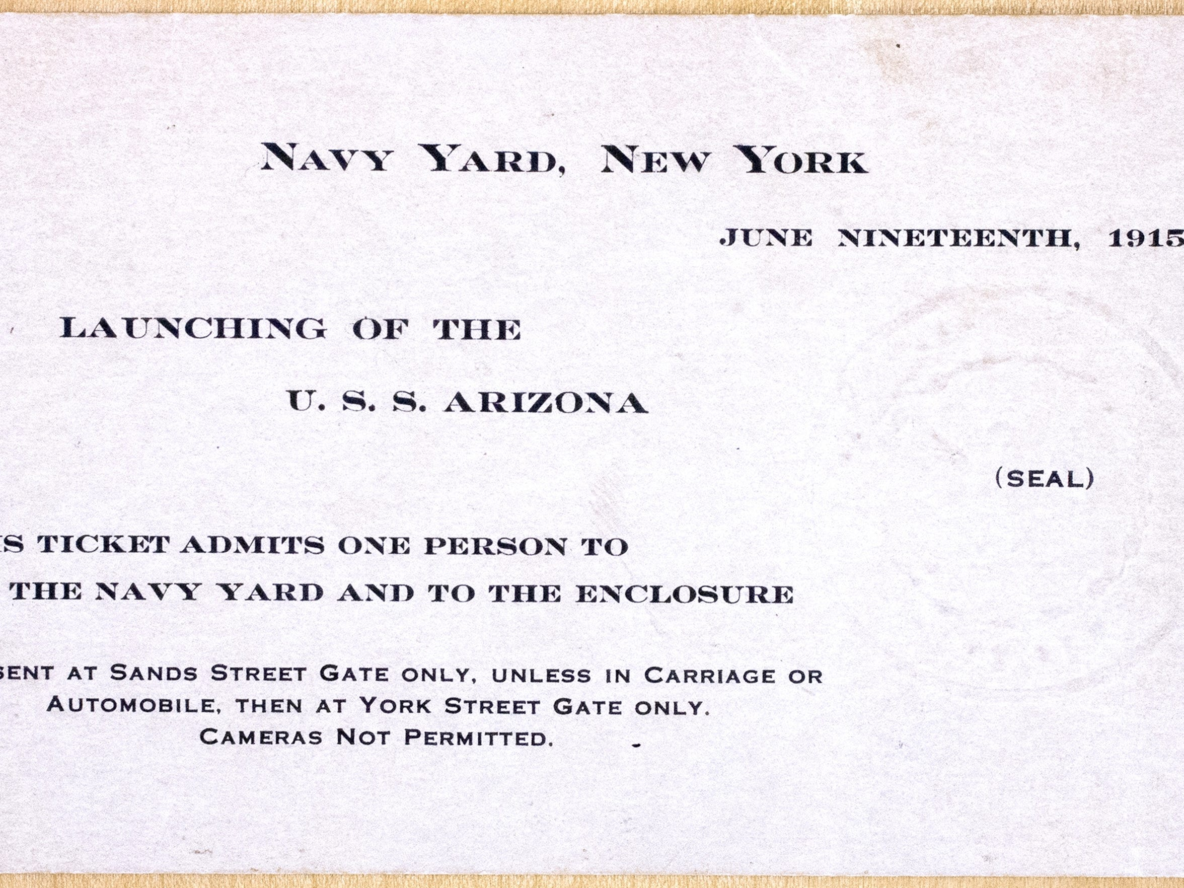 A ticket to the christening of the USS Arizona at the