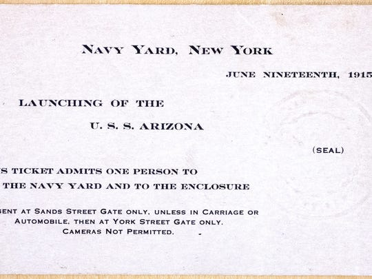 A ticket to the christening of the USS Arizona at the Brooklyn Navy Yard. Cameras were not permitted.