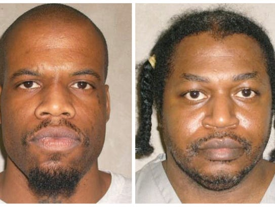 FILE - This file photo combo of images provided by the Oklahoma Department of Corrections shows Clayton Lockett, left, and Charles Warner. Lockett and Warner, two death row inmates whose executions were delayed while they challenged the secrecy behind the state's lethal injection protocol, are scheduled to die Tuesday, April 29, 2014, in Oklahoma's first double execution in nearly 80 years. (AP Photo/Oklahoma Department of Corrections, File)