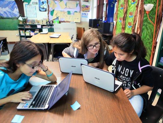 Jefferson Intermediate School students Jaylin Garza,