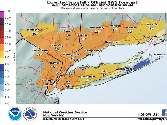 More than a foot of snow could fall in the Lower Hudson