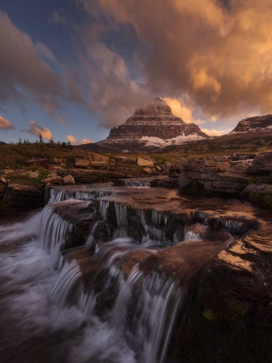 """USA Landscape Photographer of the Year: Nagesh Mahadev of Lewisville, Texas: A view from Glacier National Park in Montana blends exposures of the sky and the land, accentuating the light. The setting is """"the most stunning place to photograph ... It's a mesmerizing experience,"""" Mahadev says."""