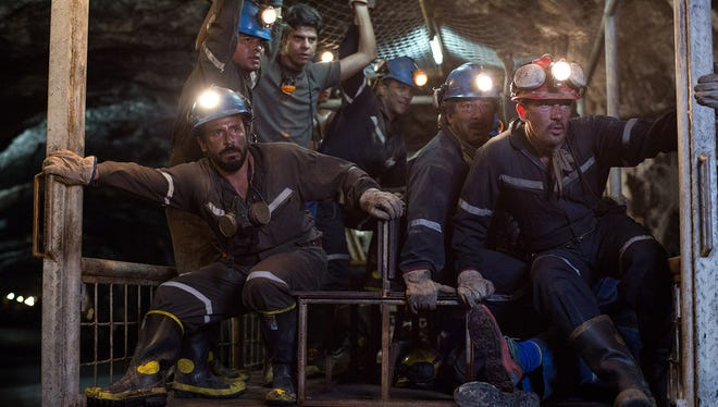 Working in an actual mine for 'The 33' was crucial for actors portraying Chilean miners including (far right) Antonio Banderas as Mario Sepúlveda.