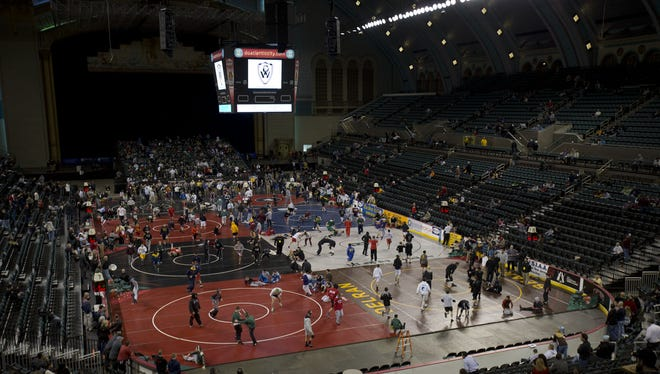 The wrestling mats at Boardwalk Hall during the 2014 NJSIAA Wrestling Championships in Atlantic City.