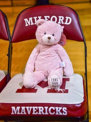 Milford players brought Teddy Bears to send to C.S. Mott Children's Hospital.