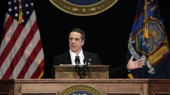 New York Gov. Andrew Cuomo delivers his State of the State address and executive budget proposal at the Empire State Plaza Convention Center, Wednesday, Jan. 13, 2016, in Albany, N.Y.