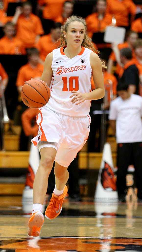 Oregon State guard Katie McWilliams made a 3-pointer on the first field goal attempt of her college career against Longwood on Nov. 13, 2015.