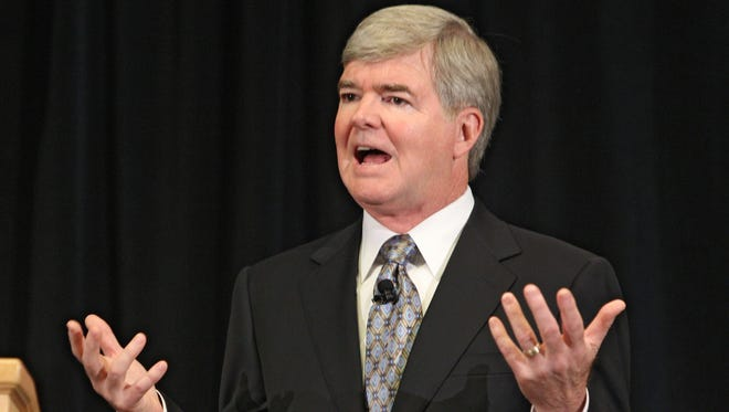 NCAA President Mark Emmert announces sanctions against Penn. State. Monday July 23rd, 2012, NCAA President Mark Emmert  and Chair of the NCAA Executive Committee Ed Ray announced unprecedented sanctions on the Pennsylvania State University foot ball program today from the NCAA headquarters in Indianapolis. Sanctions include a 60 million sanction on the university, a four year football post season ban, and vacation of all wins from 1998-2011 which will be reflected in head Joe Paterno's record, as well as a reduction in 10 initial and 20 total scholarships  each year for a four year period. (Michelle Pemberton/The Star)