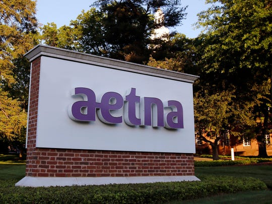A sign stands on the campus of the Aetna headquarters in Hartford, Connecticut.