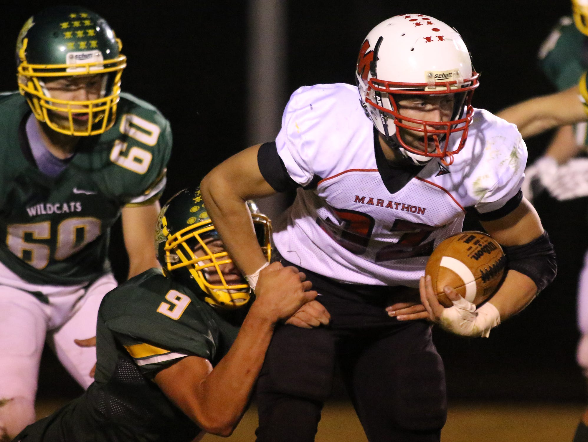 Edgar and Marathon will meet in a Division 6 Level 2 playoff game Friday, four weeks after the Raiders won the regular season matchup betrween the Marawood Conference rivals.