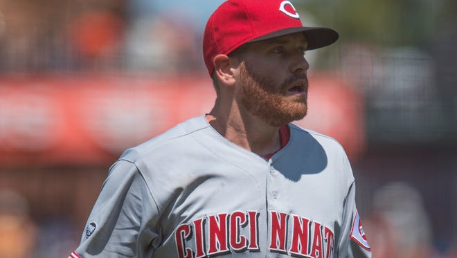 Cincinnati Reds starting pitcher Dan Straily (58) walks off the field during the eighth inning against the San Francisco Giants at AT&T Park.