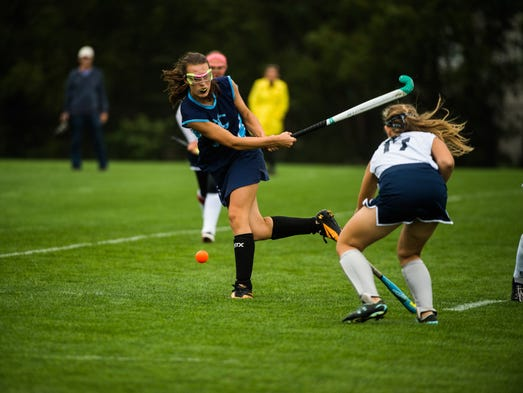 Dallastown's Nicole Crumling shoots the ball while