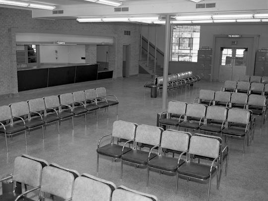 The waiting room and ticket counter inside Trailways Bus Center taken the day prior to the formal grand opening on June 28, 1949.