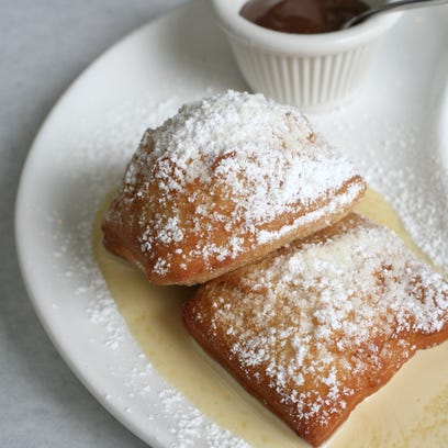 Beignets with Creme Anglaise and a chocolate-hazelnut