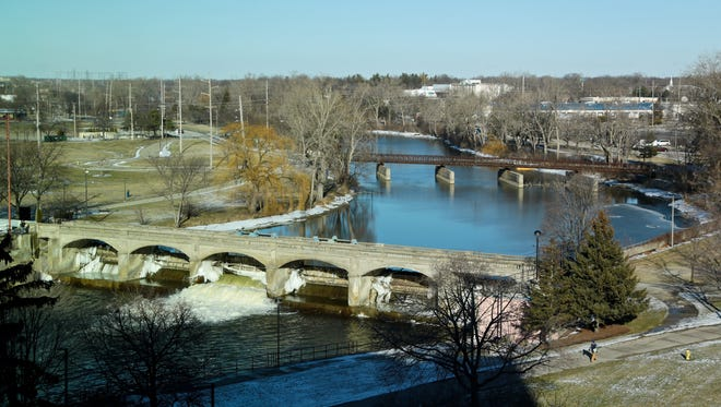 Flint river seen from Michigan State Office building on Friday, January 29, 2016, in Flint, MI.