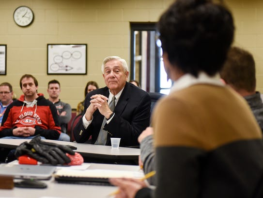 John Thein talks about his experience with Rocori school board members during a meeting Tuesday, April 3, at the district offices in Cold Spring.