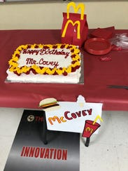 It was a McCovey meal for Principal Paul Covey, who