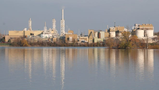 The SCA Tissue mill in Menasha as seen from the Fox Cities trestle trail over Little Lake Butte des Morts.